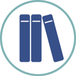 Dark blue icon of three books in a light blue circle, with the rightmost book leaning on the other two